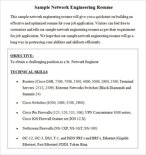 Network Engineer Resume \u2013 8+ Free Samples , Examples , Format