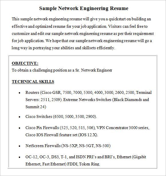 9 Network Engineer Resume Templates \u2013 Free Samples , Examples