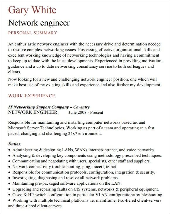 9 Network Engineer Resume Templates \u2013 Free Samples , Examples - sample network engineer resume
