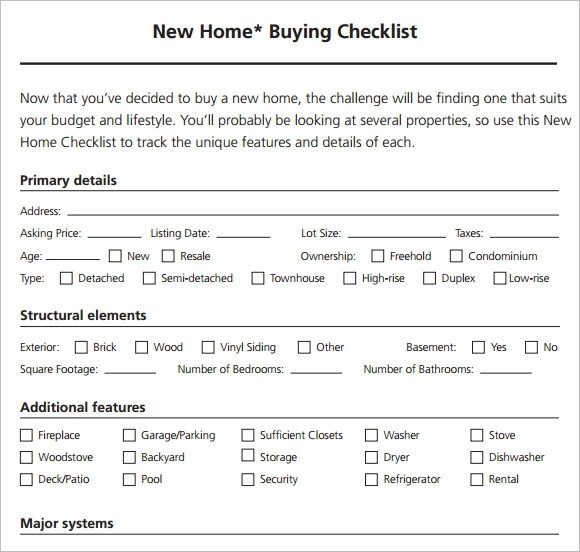 8+ New Apartment Checklist Samples Sample Templates