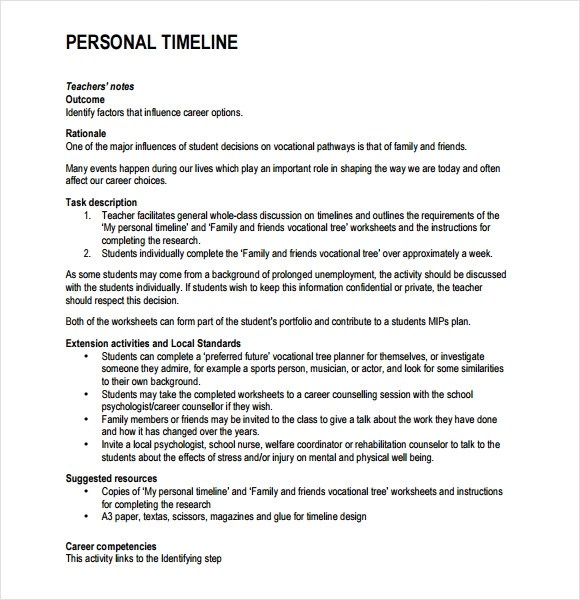 9+ Personal Timeline Templates \u2013 Free Samples , Examples , Format