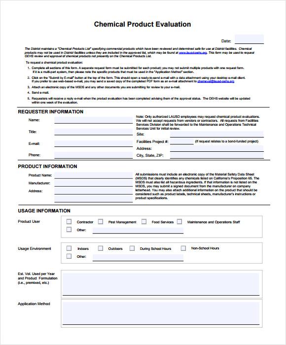 Sample Product Evaluation - Resume Template Ideas