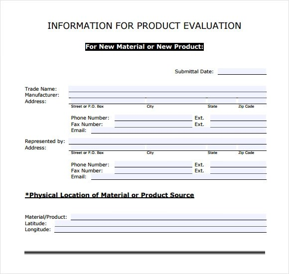 9+ Sample Product Evaluations Sample Templates