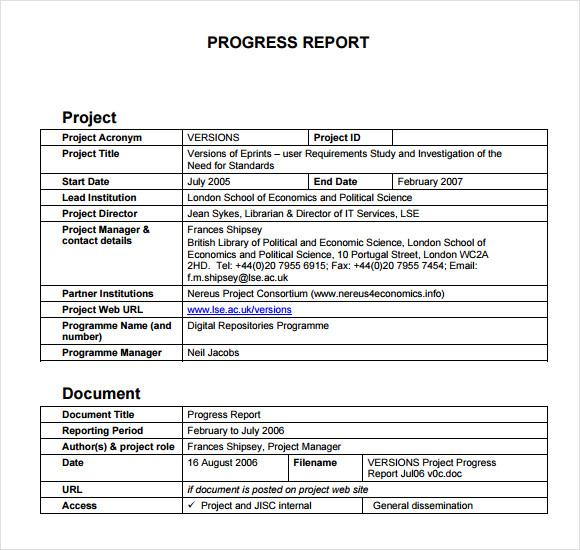 status report format examples - Onwebioinnovate - progress status report template