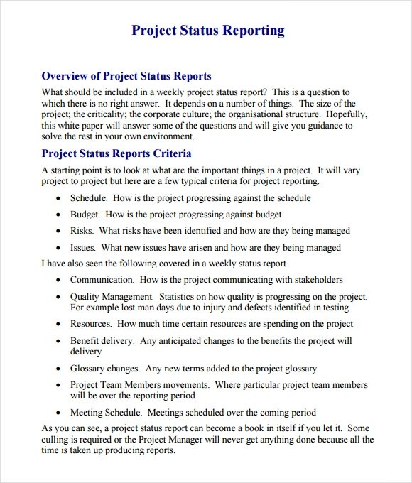 14+ Sample Project Status Reports \u2013 PDF, Word, Pages, Portable - sample project report