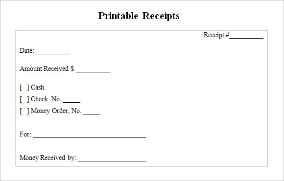 22 Blank Receipt Templates \u2013 Free Samples, Examples  Format - blank money template