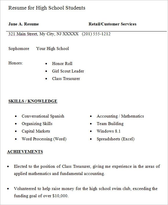 10 High School Resume Templates \u2013 Free Samples , Examples  Format