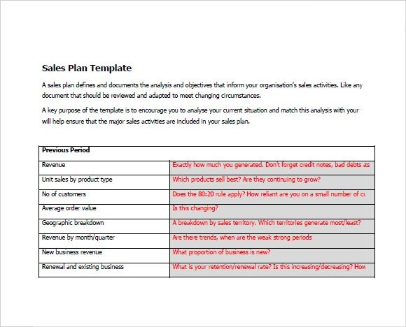 Sample Sales Plan - 14+ Example, Format