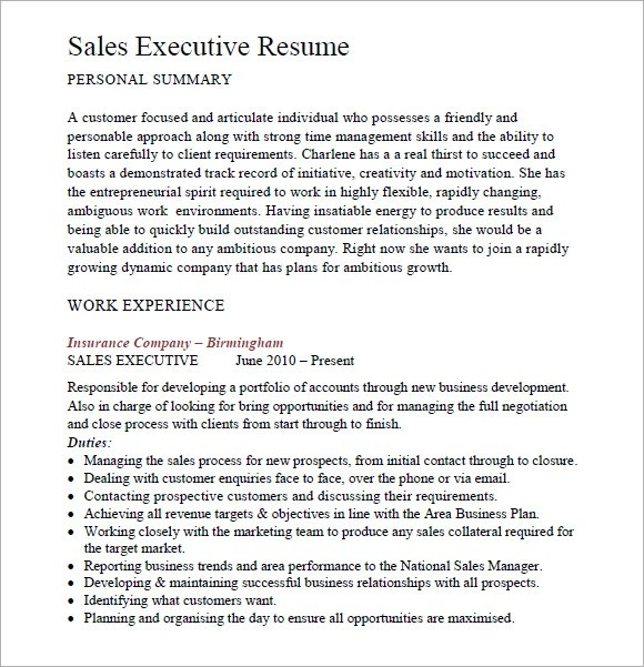 Sales Resume \u2013 9+ Free Samples, Examples, Format