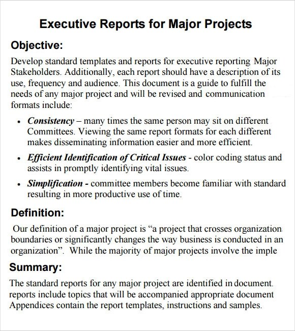 Sample Executive Report - 8+ Documents i n PDF, Word, Apple Pages