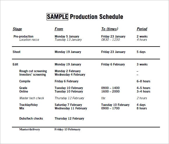 11+ Sample Production Timelines Sample Templates - sample production schedule template
