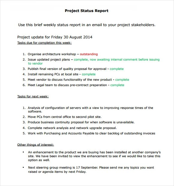 Sample Status Reports - sample project report