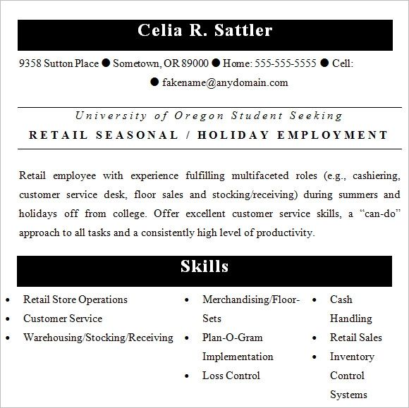 resume sample for retail shop