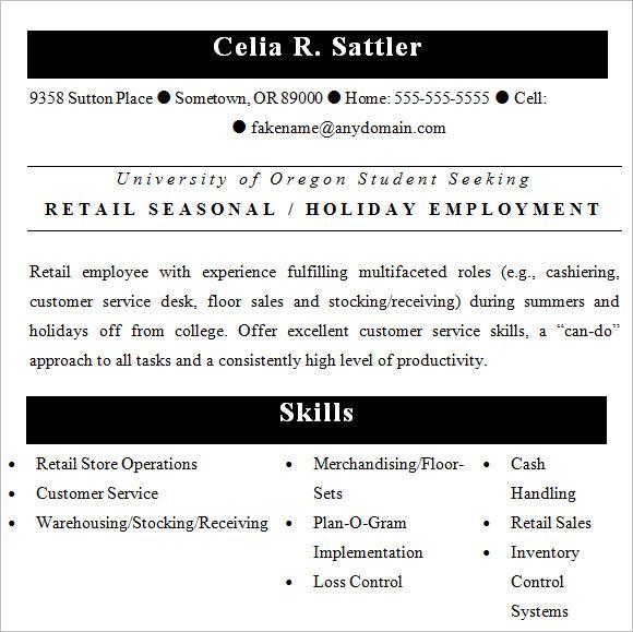 resume cover letter for retail