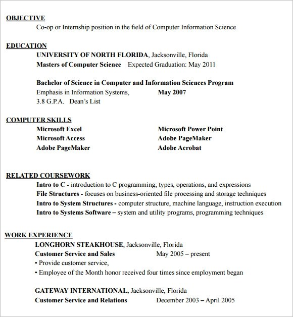 10 Internship Resume Templates \u2013 Free Samples , Examples  Format