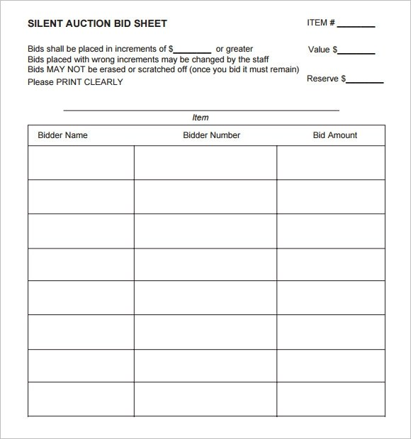 Sample Silent Auction Bid Sheet \u2013 6+ Example, Format