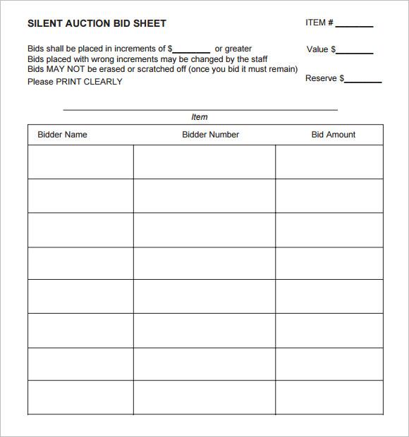 bid list template