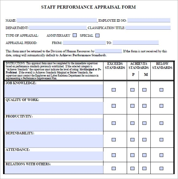 Staff Evaluation u2013 9+ Free Samples, Examples, Format - performance evaluation forms free
