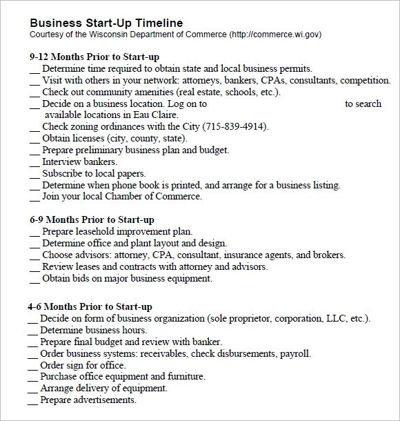 Sample Business Timeline Template - 8+ Free Samples, Examples, Format - business startup checklist