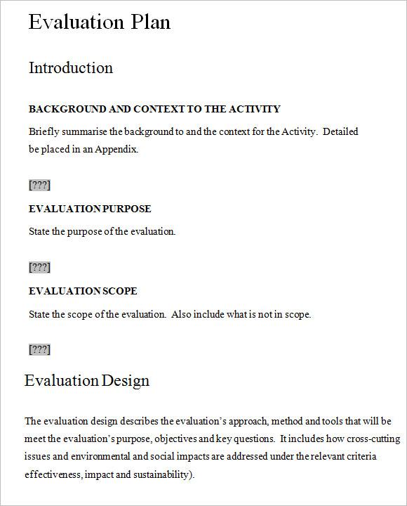 7+ Evaluation Plan Templates \u2013 Free Samples , Examples , Format