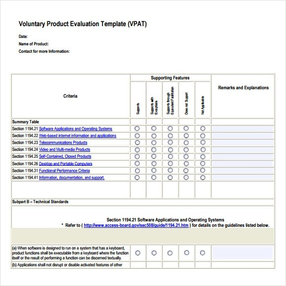 Product Evaluation Template  EnvResumeCloud