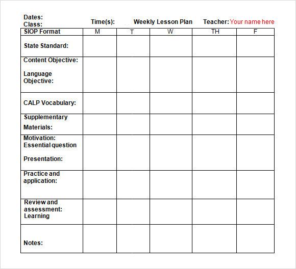 simple lesson plan template doc