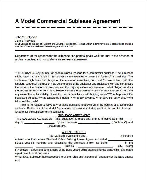 7+ Sublease Agreement Samples Sample Templates
