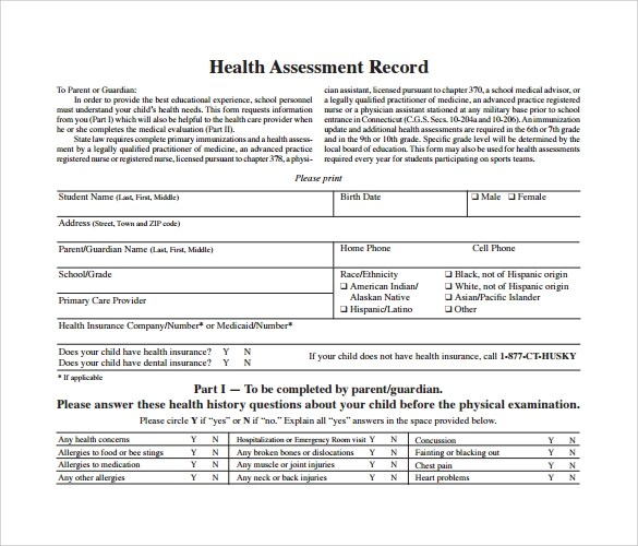 Sample Health Assessment - 8+ Documents In PDF, Word - sample health assessment