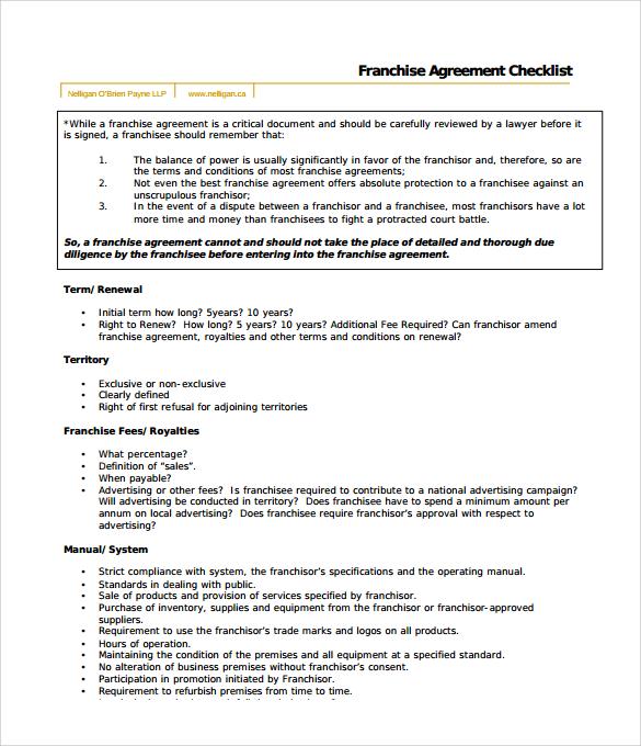9+ Sample Franchise Agreements Sample Templates