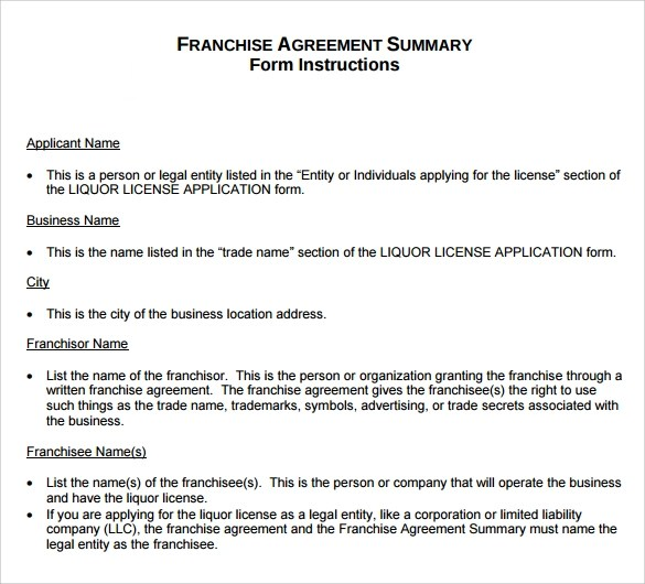Sample Franchise Agreement \u2013 8+ Documents In PDF, Word - franchise agreement form