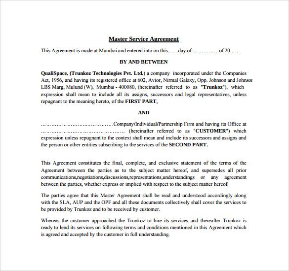 9+ Sample Master Service Agreements Sample Templates