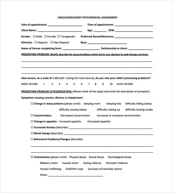 Sample Psychosocial Assessment - 6+ Examples, Format - psychosocial assessment template
