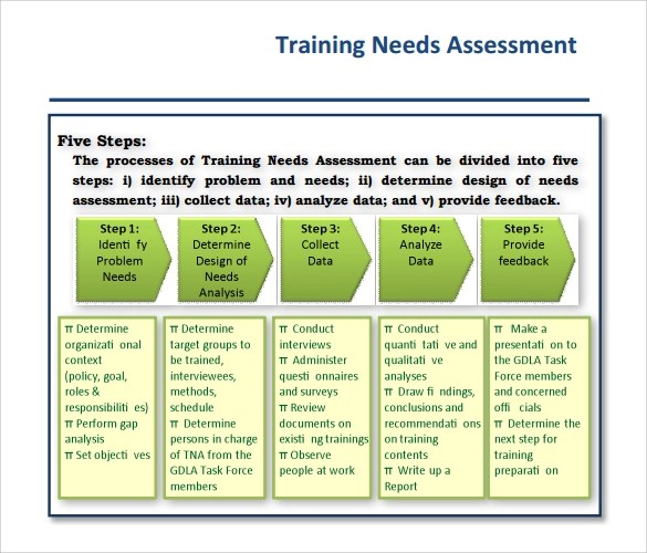 needs assessment templates  sample needs assessment
