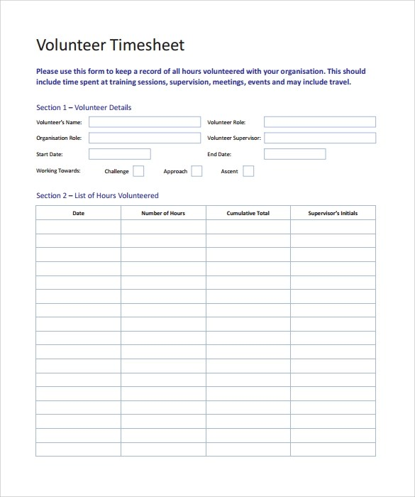 Sample Volunteer Timesheet - 10+ Example, Format