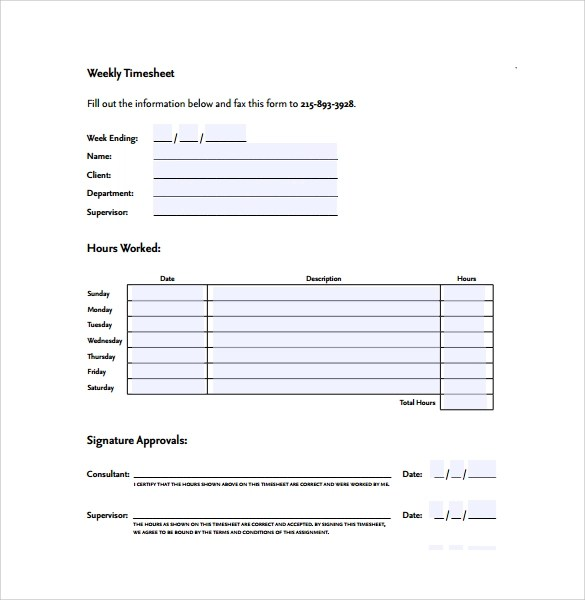 Simple Weekly Timesheet PDF Format Word amp Excel Examples