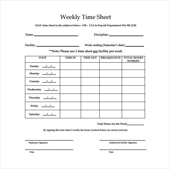 Sample Daily Timesheet Templates - sample weekly timesheet