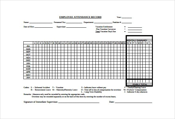 10+ Attendance Tracking Samples, Examples, Templates Sample Templates - attendance tracking template