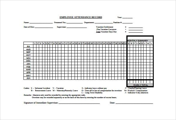 employee attendance tracking template