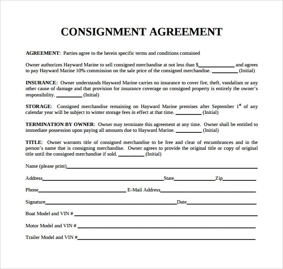 consignment agreement form - Onwebioinnovate