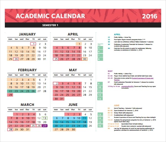 Sample Academic Calendar Academic Calendar Template Calendar - sample academic calendar