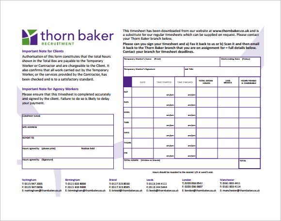 10+ Blank Timesheet Templates \u2013 Free Sample, Example, Format