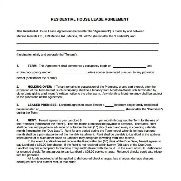 10+ Sample House Lease Agreements Sample Templates - lease agreement in pdf