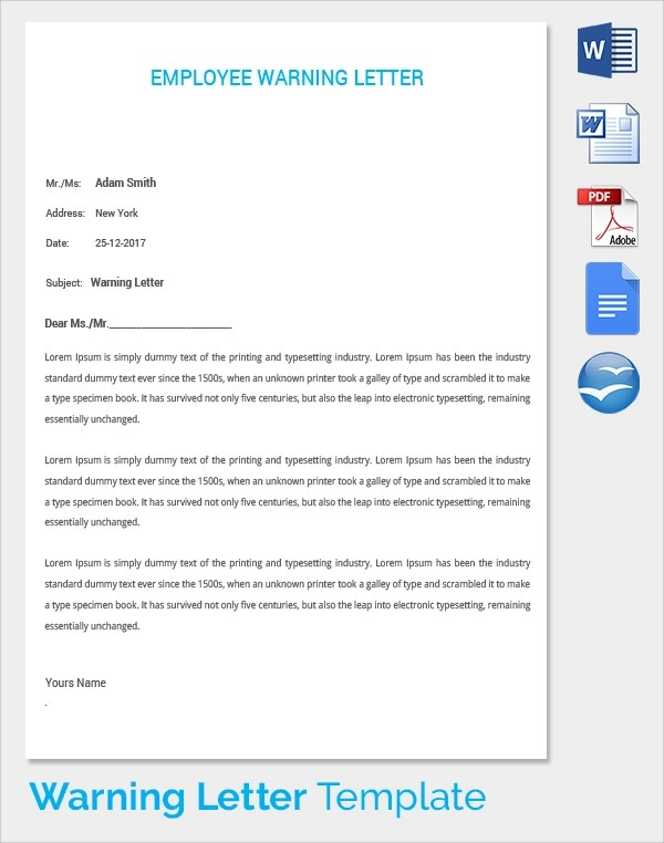 16+ Warning Letters Sample Templates