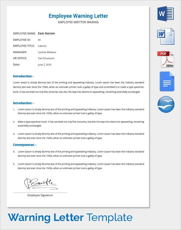 Work Warning Letter Letters Free Sample Letters Sample Warning - writing warning letter for employee conduct