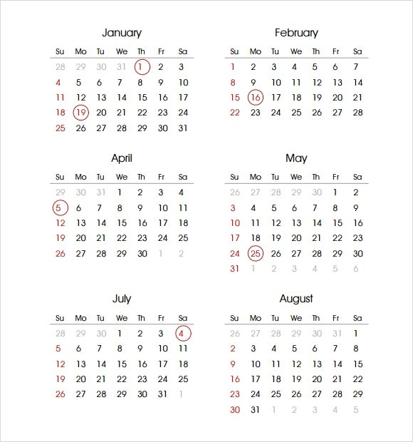 √ 2015 calendar Templates 7 Free Samples, Examples