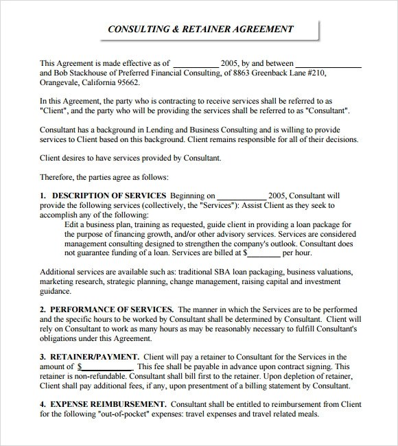 6+ Retainer Agreement Samples Sample Templates - sample retainer agreements