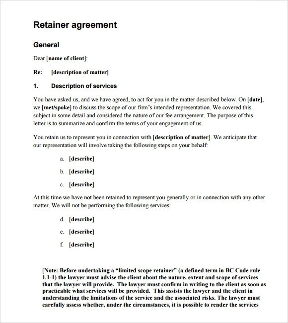 6+ Retainer Agreement Samples Sample Templates