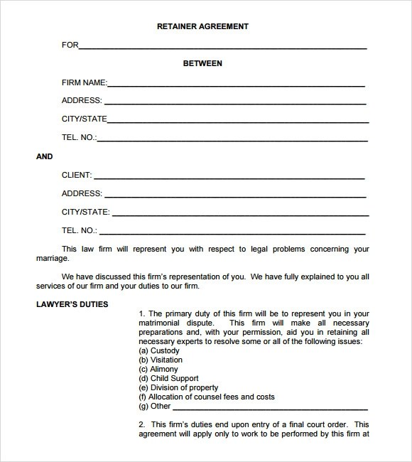 Letter Of Agreement Format Free Sample Letters Retainer Agreement Sample – 8 Example Format