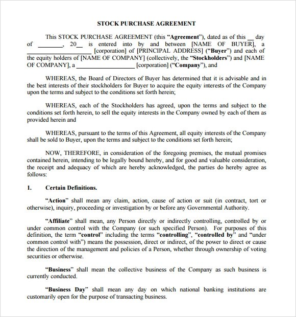 9+ Stock Purchase Agreement Samples Sample Templates - Stock Purchase Agreement
