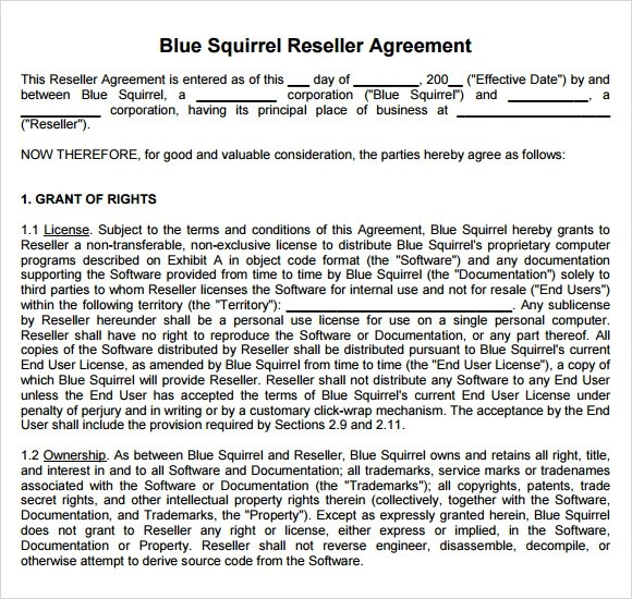Sample Reseller Agreement - 6+ Examples, Format - sample reseller agreement template